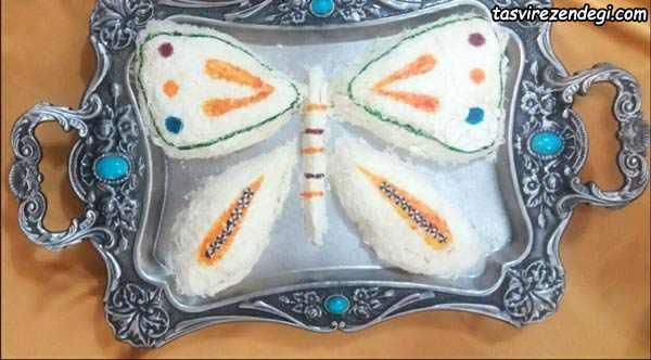 تزیین پشمک شب یلدا عروس شکل پروانه