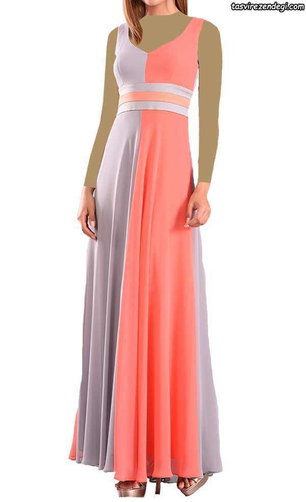 لباس مجلسی دو رنگ طوسی و مرجانی