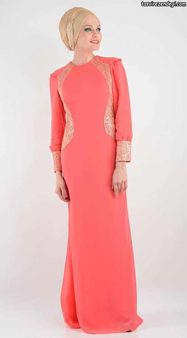 لباس مجلسی پوشیده مرجانی رنگ