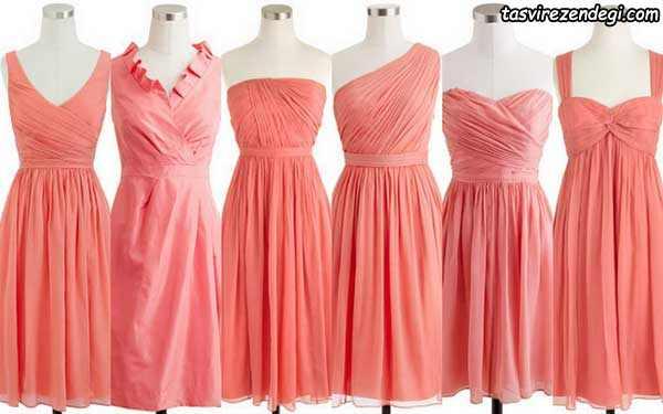 لباس مجلسی مرجانی رنگ کوتاه