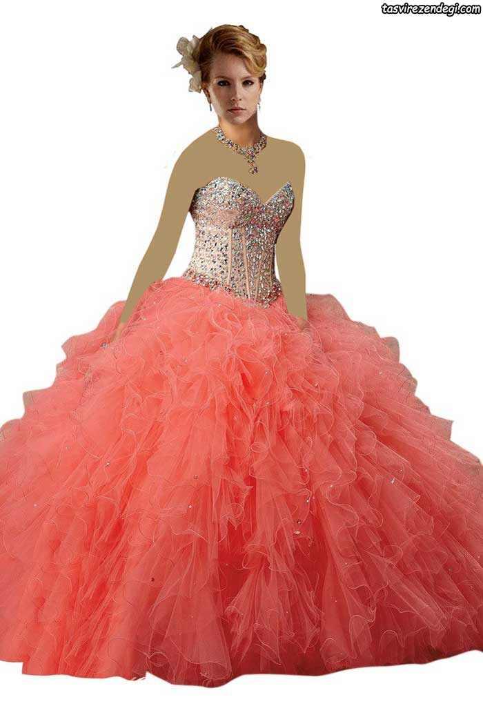 لباس نامزدی مرجانی رنگ دامن پفی پرنسسی
