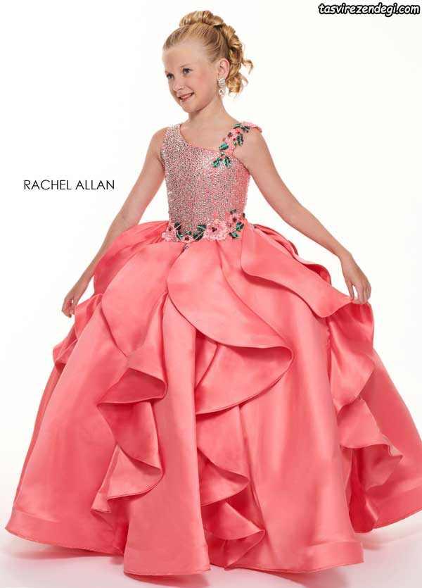 لباس بچگانه مرجانی رنگ دامن پفی پرنسسی