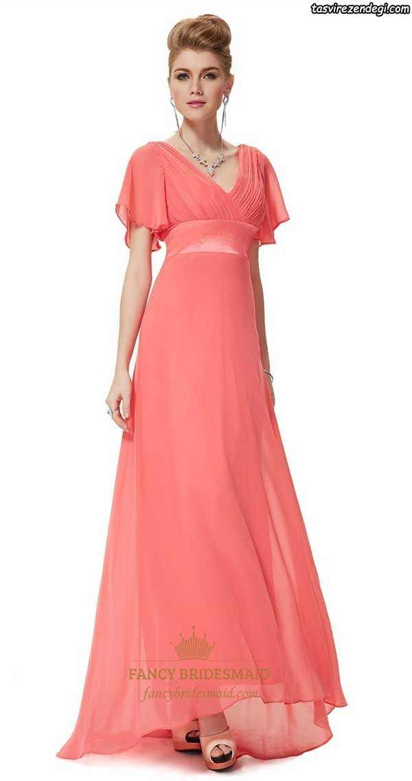 لباس مجلسی حریر بلند مرجانی رنگ