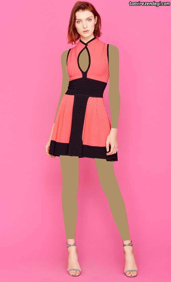لباس مجلسی دو رنگ مشکی و مرجانی رنگ