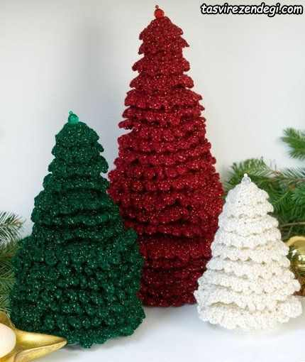 درخت کریسمس قلاب بافی