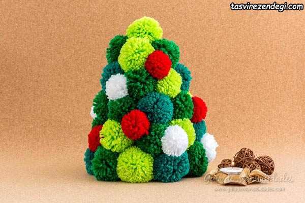 آموزش ساخت درخت کریسمس با پوم پوم
