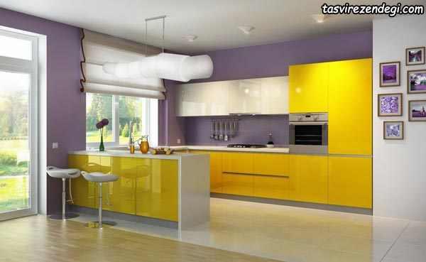 مدل کابینت آشپزخانه زرد