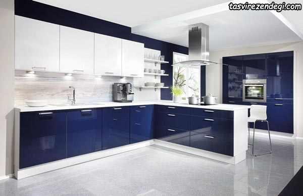 مدل کابینت آشپزخانه آبی و سفید