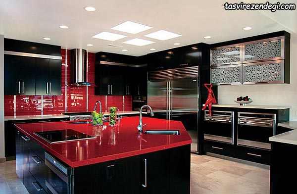 دکوراسیون آشپزخانه مشکی و قرمز