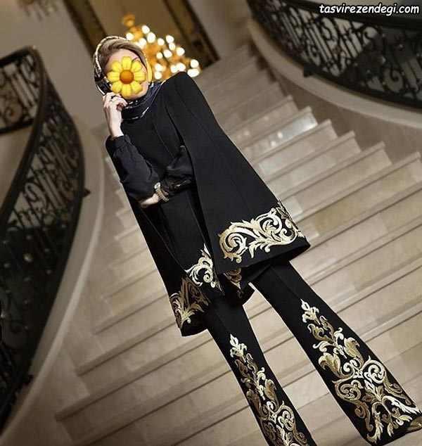 مانتو شلوار مشکی مجلسی شنلی طرح سنتی طلایی