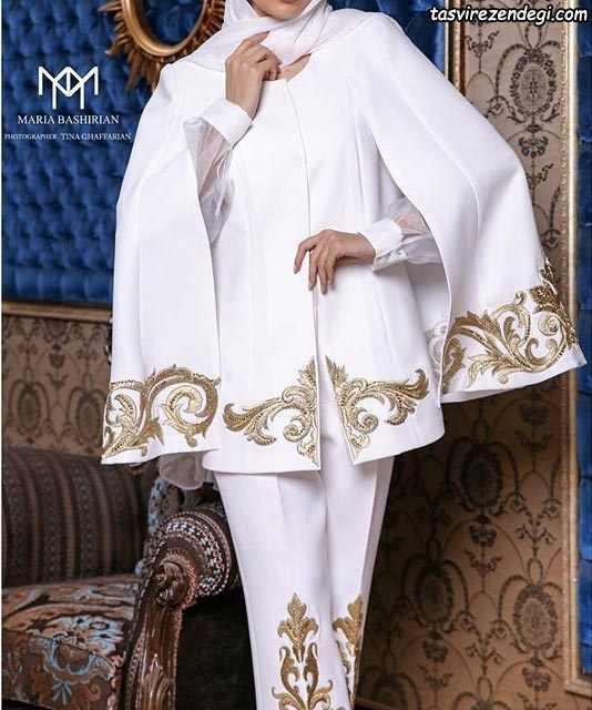 مانتو مجلسی زمستانی خاص سفید عروس