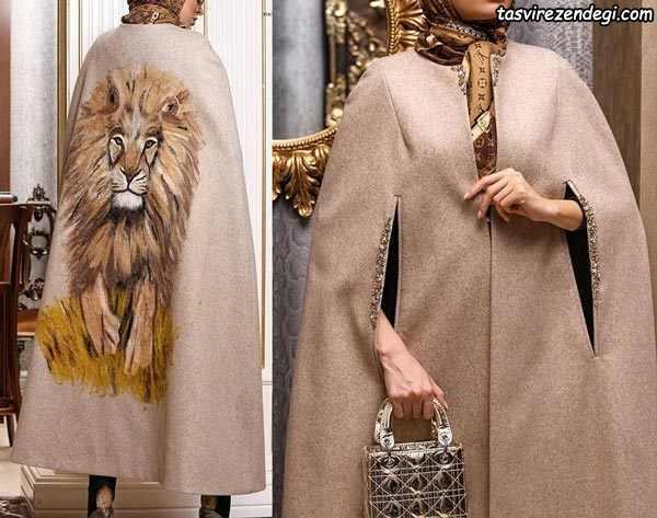 مانتو زمستانی شنلی با طرح شیر