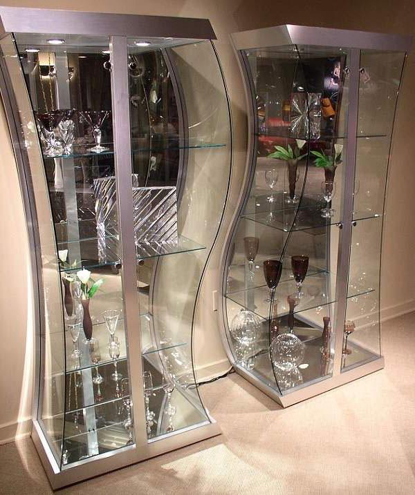 بوفه ویترین مدرن شیشه ای آینه ای