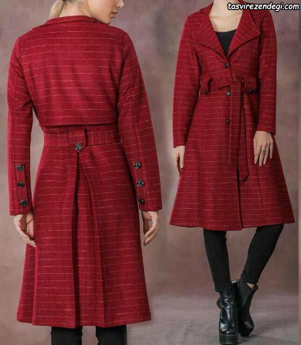 مانتو اسپرت زمستانی قرمز پشم