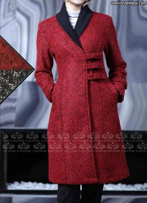 مانتو پشم زمستانی قرمز