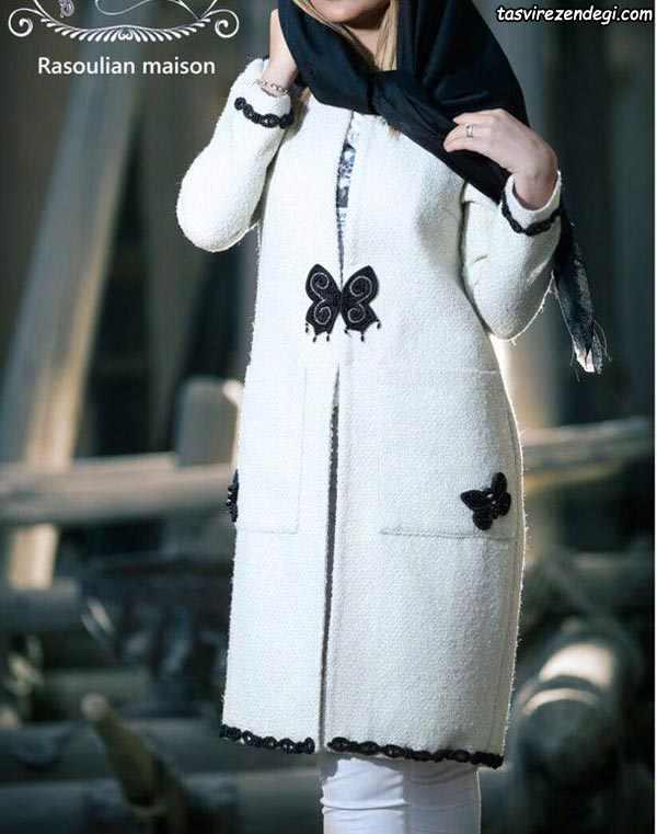 مانتو پپشم زمستانی سفید با پروانه مشکی