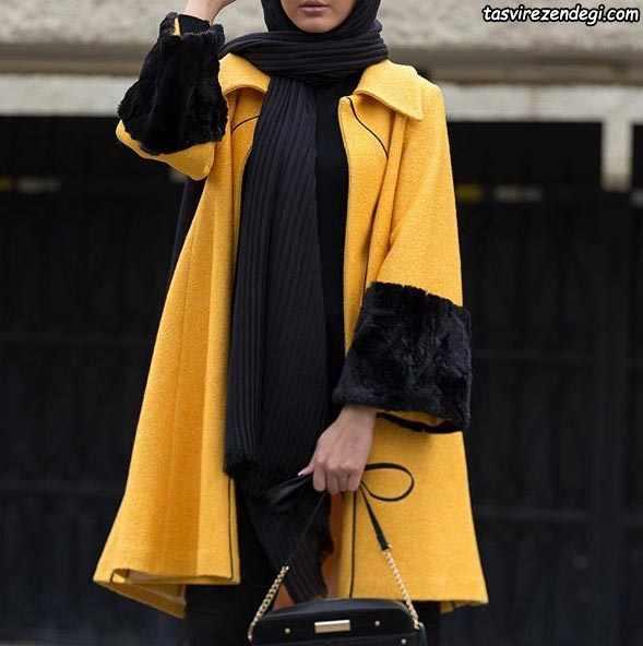 مانتو فوتر زمستانی زرد کلوش
