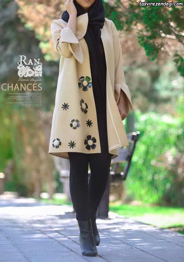 مانتو فوتر تزیین شده با گل برجسته