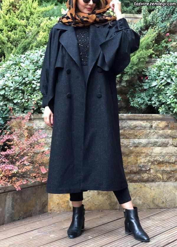 مانتو بلند زمستانی مشکی یقه انگلیسی پهن