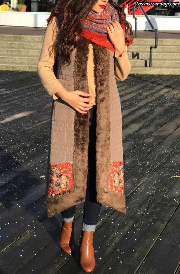 مانتو سنتی زمستانی بلند لبه خز