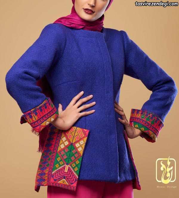 مانتو پشم زمستانی کوتاه آبی کاربنی طرح سنتی