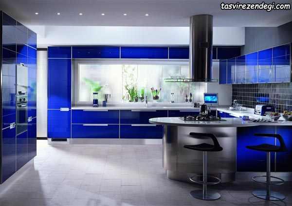 مدل کابینت آشپزخانه آبی کاربنی