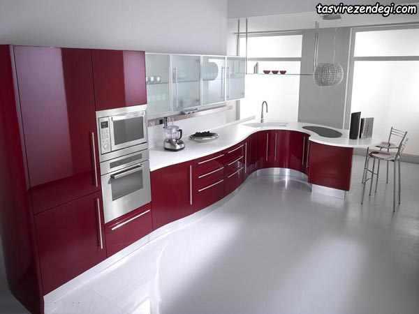 دکوراسیون آشپزخانه سفید و زرشکی