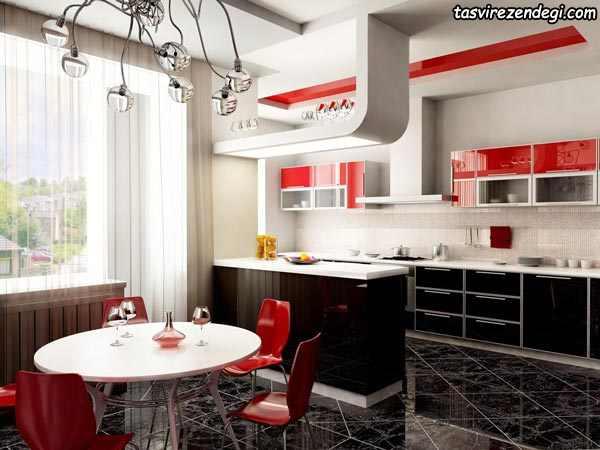 دکوراسیون آشپزخانه سفید و قرمز و مشکی