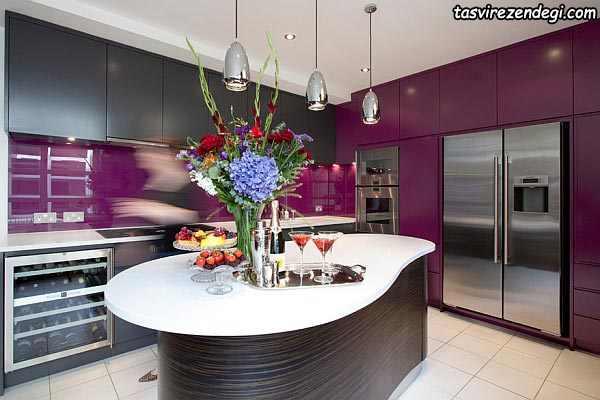 کابینت آشپزخانه بنفش