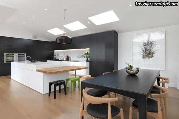 مدل کابینت آشپزخانه سیاه