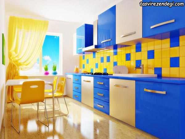 مدل کابینت آشپزخانه آبی و کرم