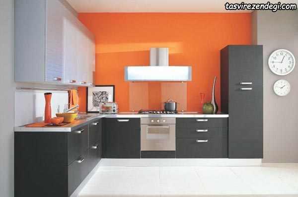 طراحی آشپزخانه مدرن نارنجی و نوک مدادی