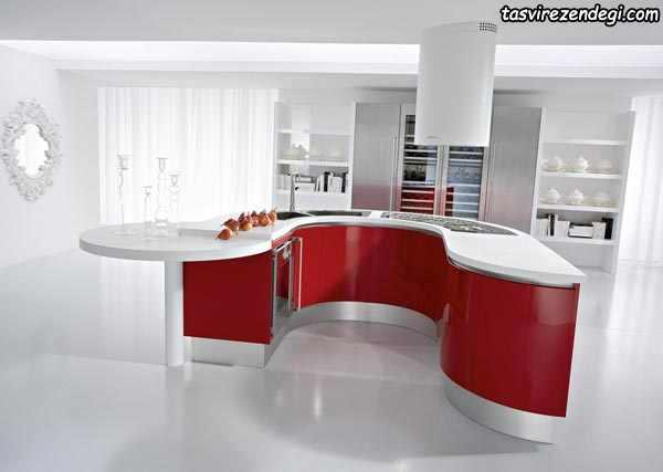 دکوراسیون آشپزخانه سفید و قرمز