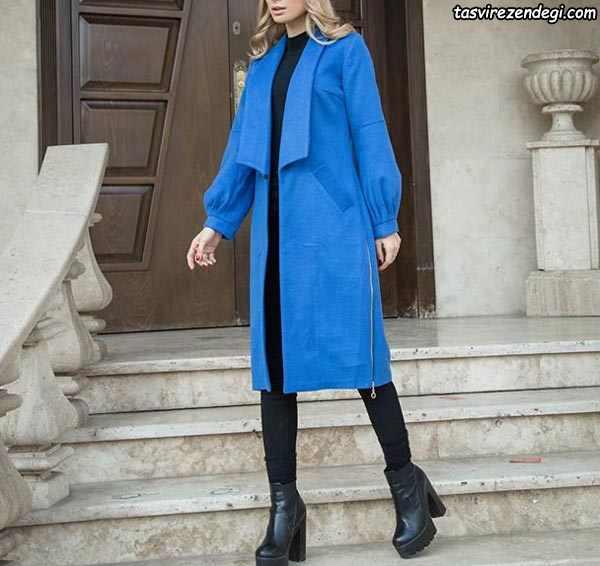 مانتو زمستانه آبی یقه آمریکایی بلند