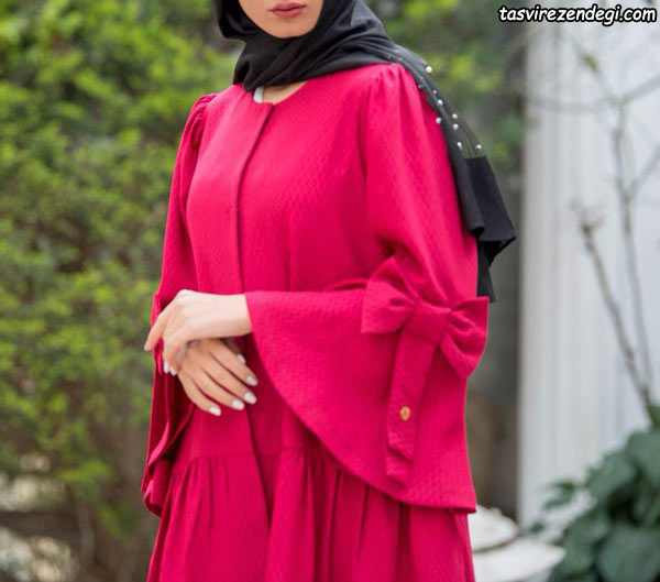 مانتو عید نوروز مجلسی سرخابی