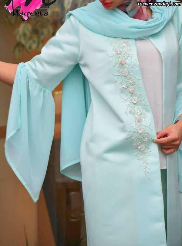 مانتو عید نوروز مجلسی آبی روشن