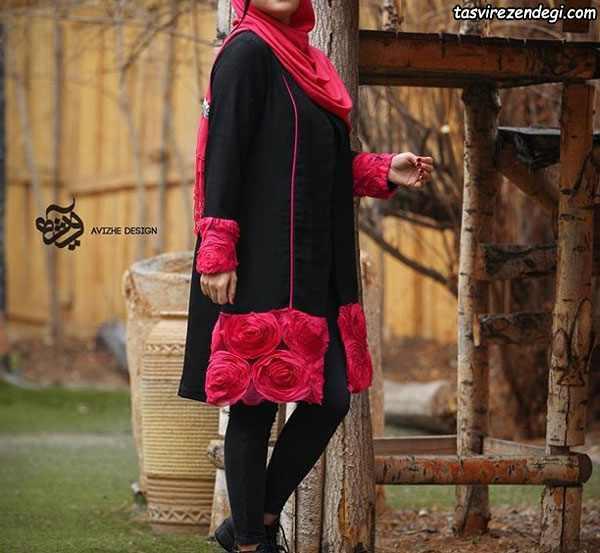 مانتو عید مشکی گل قرمز برجسته