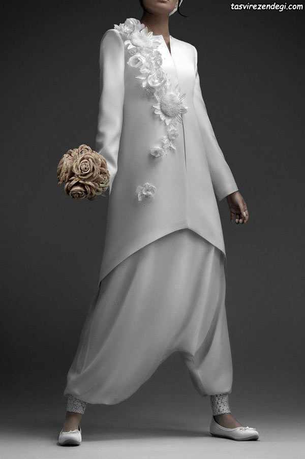مانتو سفید گل برجسته نامزدی شلوار سندبادی