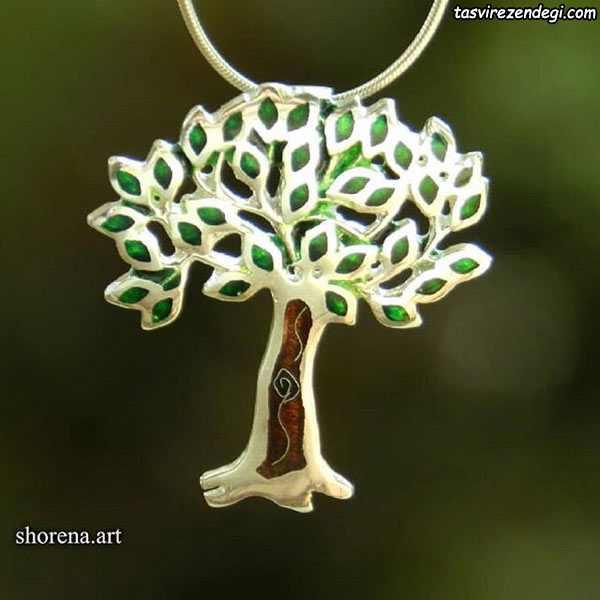 مدل گردنبند نقره مینا نقاشی درخت