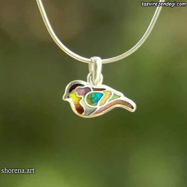 مدل گردنبند نقره مینا نقاشی پرنده