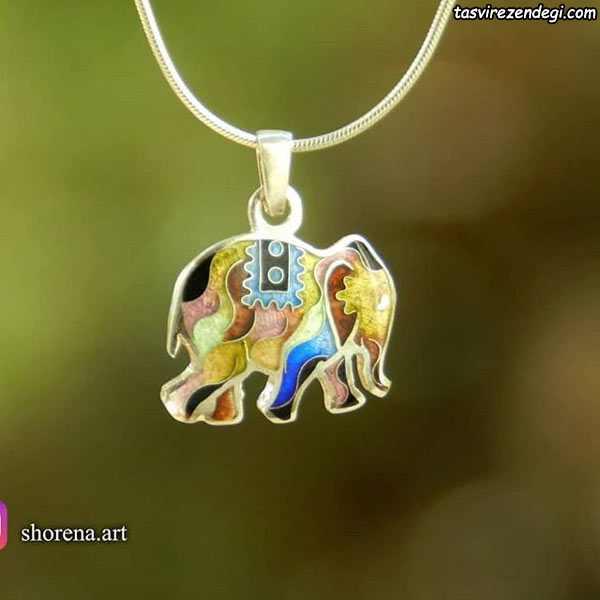 مدل گردنبند نقره مینا نقاشی فیل