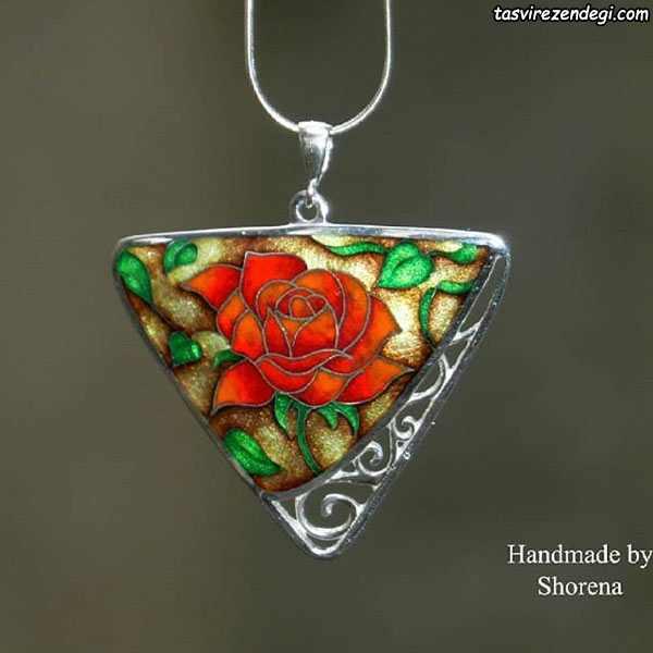 مدل گردنبند نقره مینا نقاشی گل رز