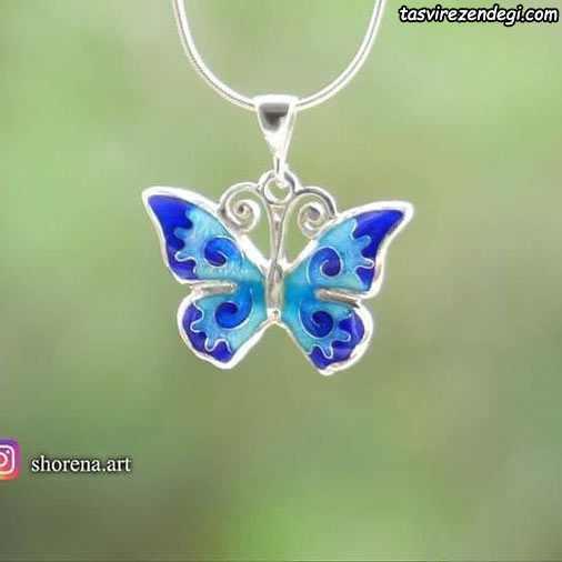 مدل گردنبند نقره مینا نقاشی پروانه
