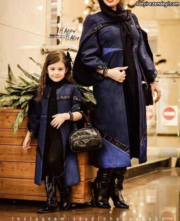 ست مانتو مجلسی زمستانی مادر دختر