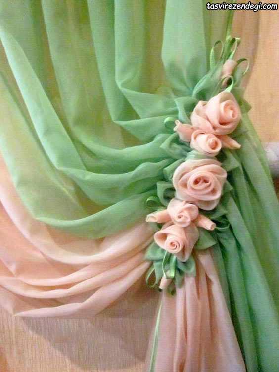 پرده جمع کن گل حریر