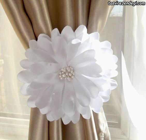 پرده گیر گل پارچه ای