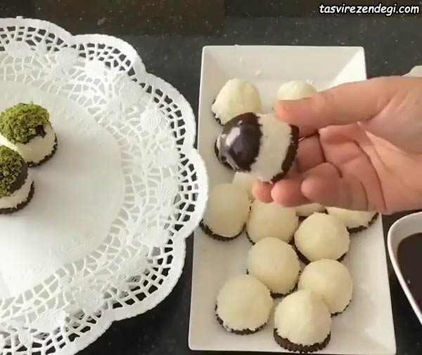 توپک برفی شکلاتی شیرینی عید