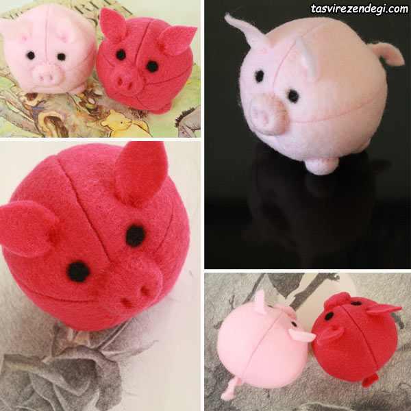 آموزش دوخت عروسک خوک نمدی