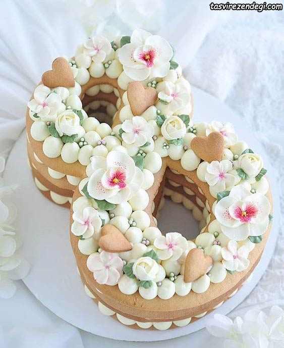 تزیین کیک بیسکویت اعداد 8
