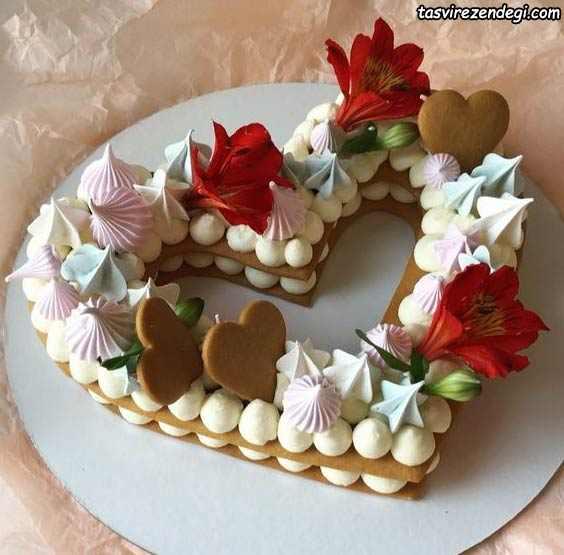 تزیین بیسکو کیک قلبی
